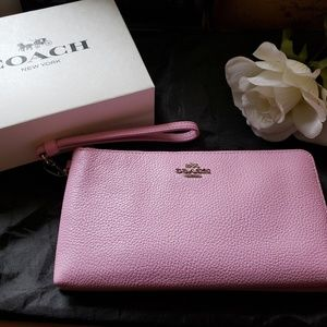 NWT Coach PINK Accordian Double Zip Wallet